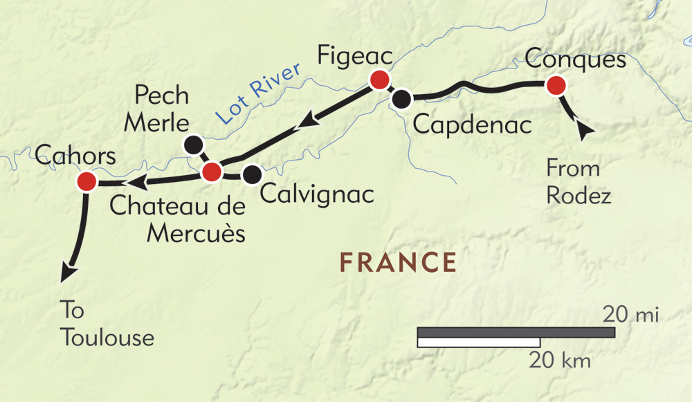 Medieval France: The Lot Valley route-map