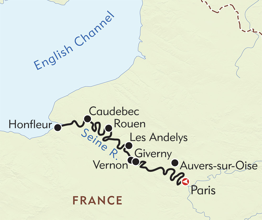 Paris and Normandy route-map