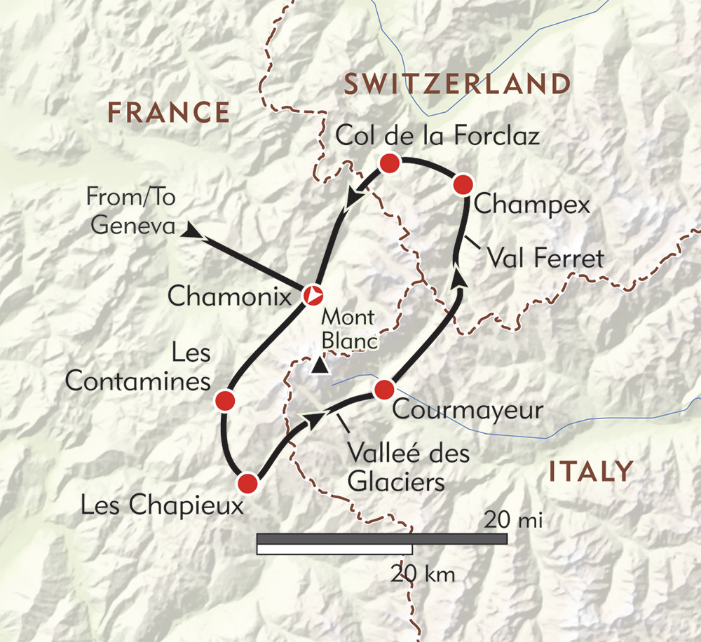Tour du Mont Blanc route-map
