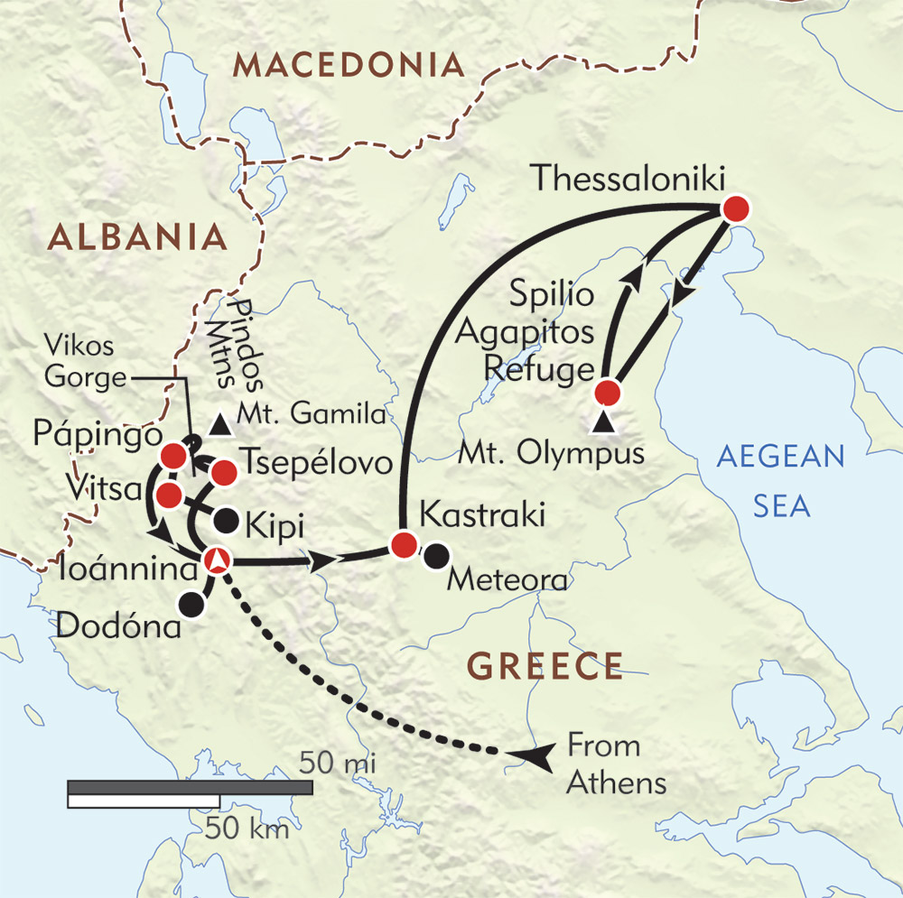 Hidden Villages of Northern Greece route-map