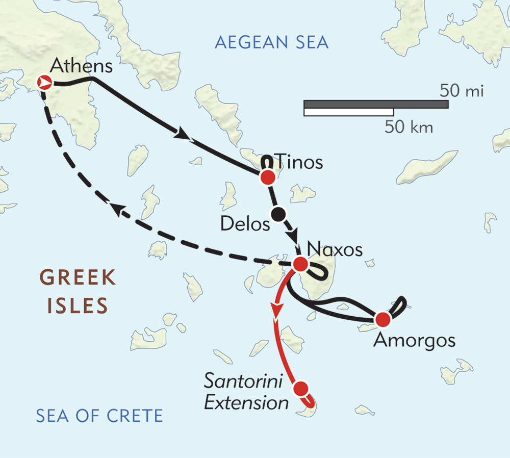 Hiking in the Greek Isles route-map