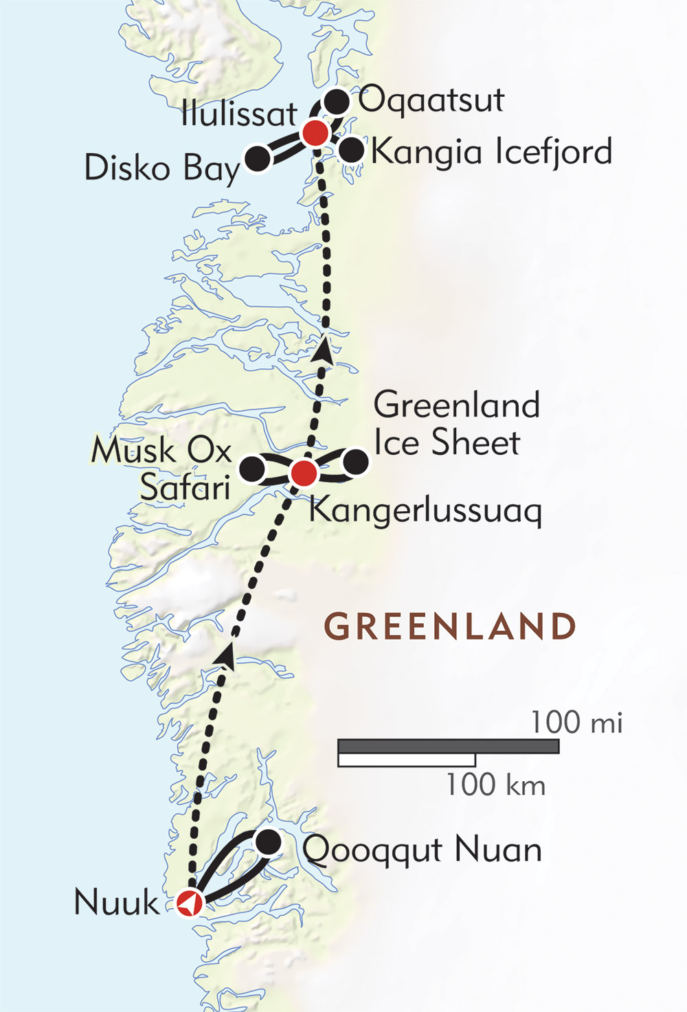 Greenland Wildlife and Nature Safari route-map