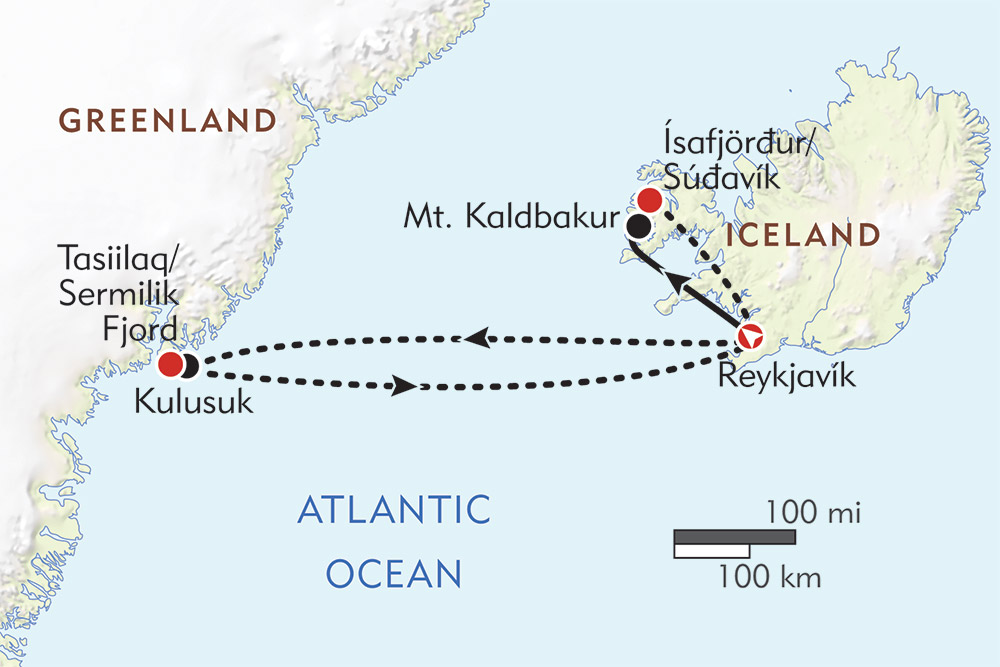 Hiking Eastern Greenland and Iceland's Westfjords route-map