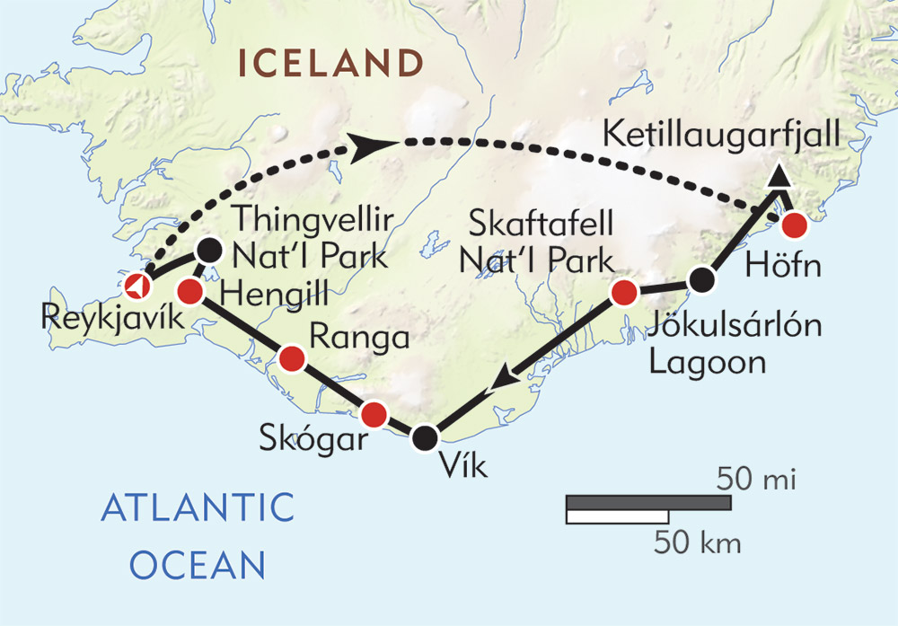 Iceland Expedition route-map