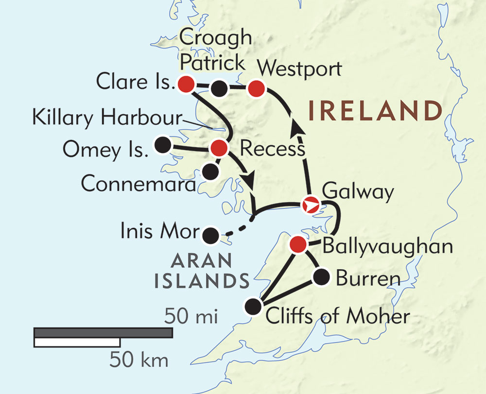 Treasures of Ireland's West Coast route-map