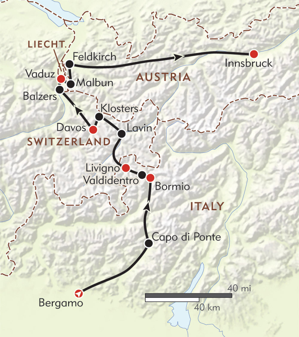 Bergamo to Innsbruck route-map