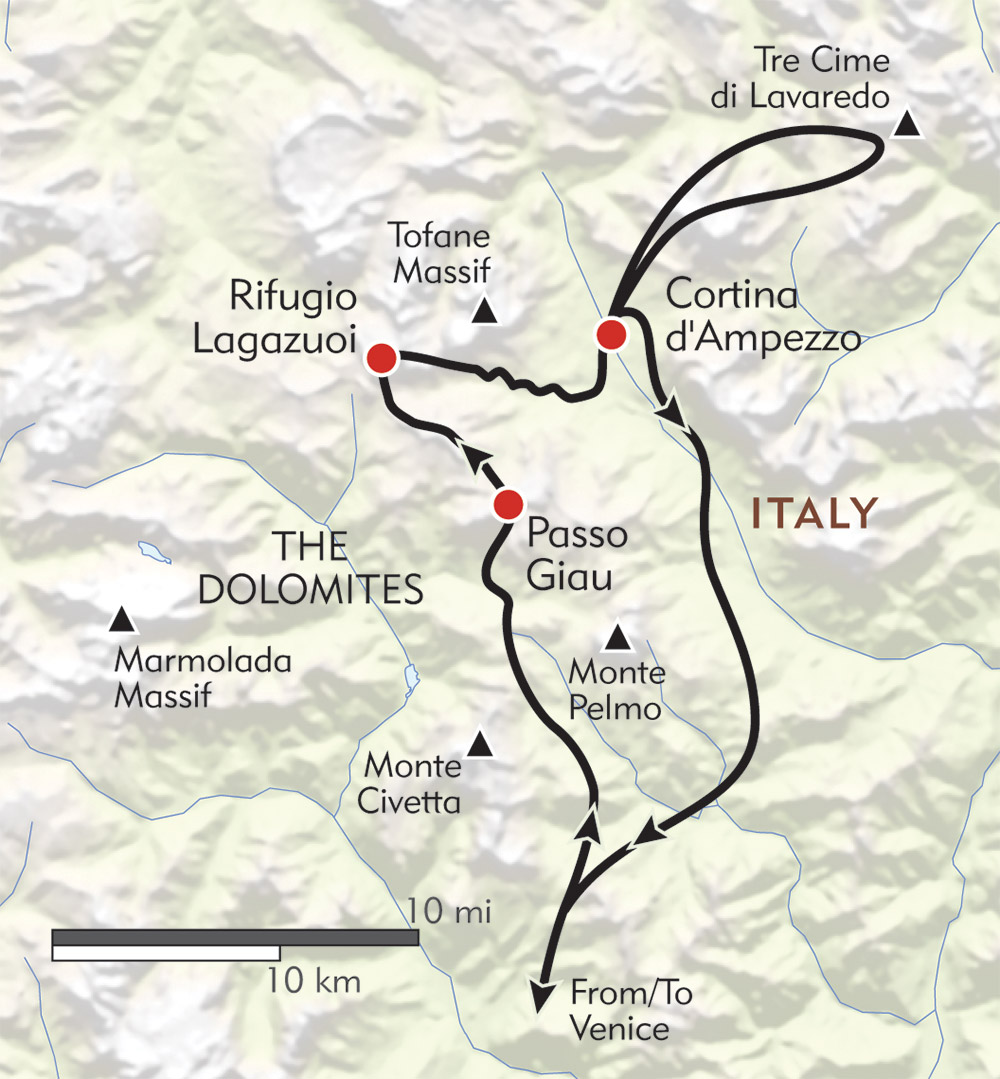 Hiking in the Cortina Dolomites route-map