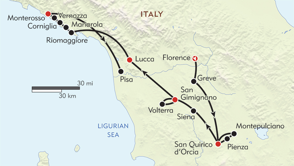 Tuscany and the Cinque Terre route-map