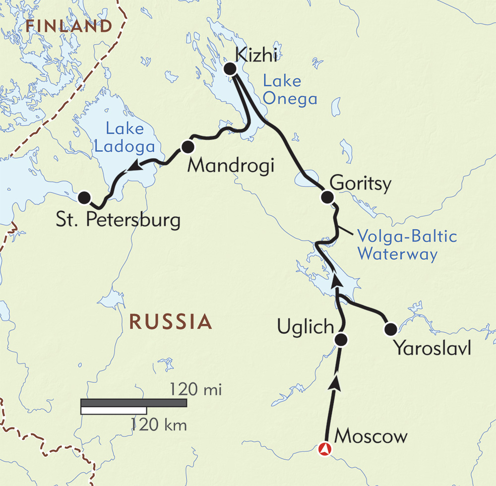 Cruising Through Imperial Russia route-map