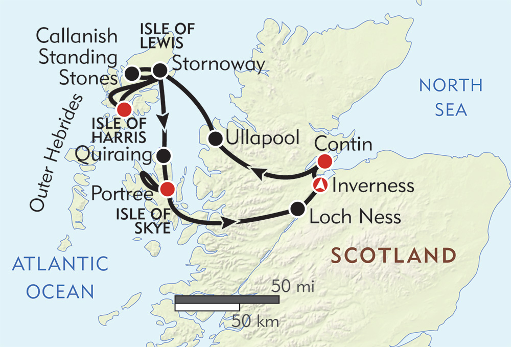 Highlands and Islands of Scotland route-map