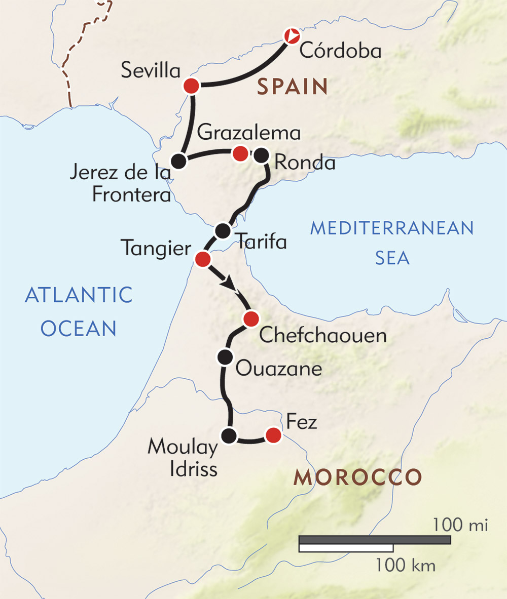 Southern Spain to Morocco route-map