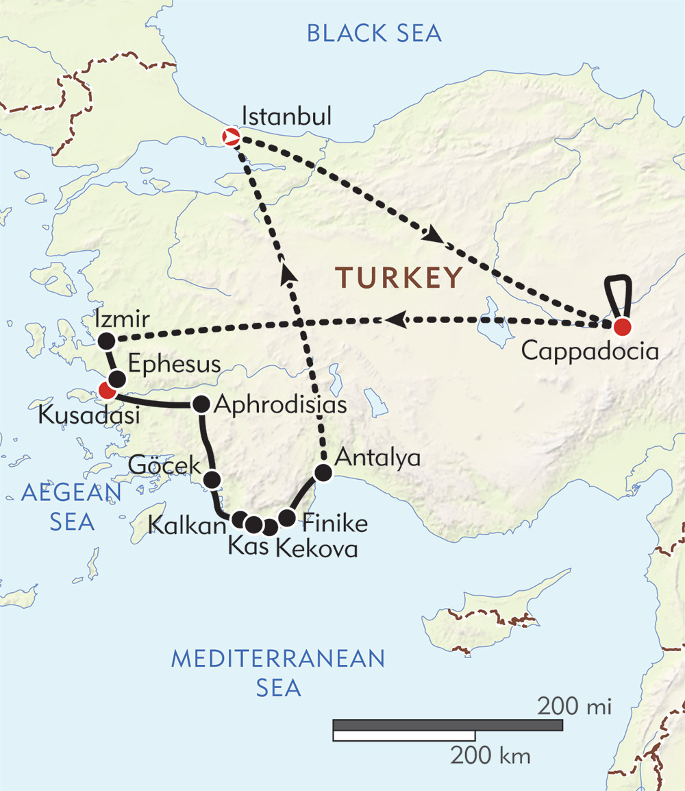 Turkey Private Journey route-map