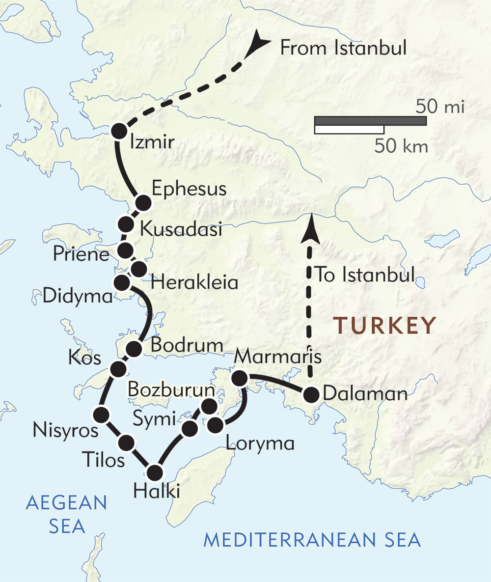Greek Islands and the Turquoise Coast Private Journey route-map