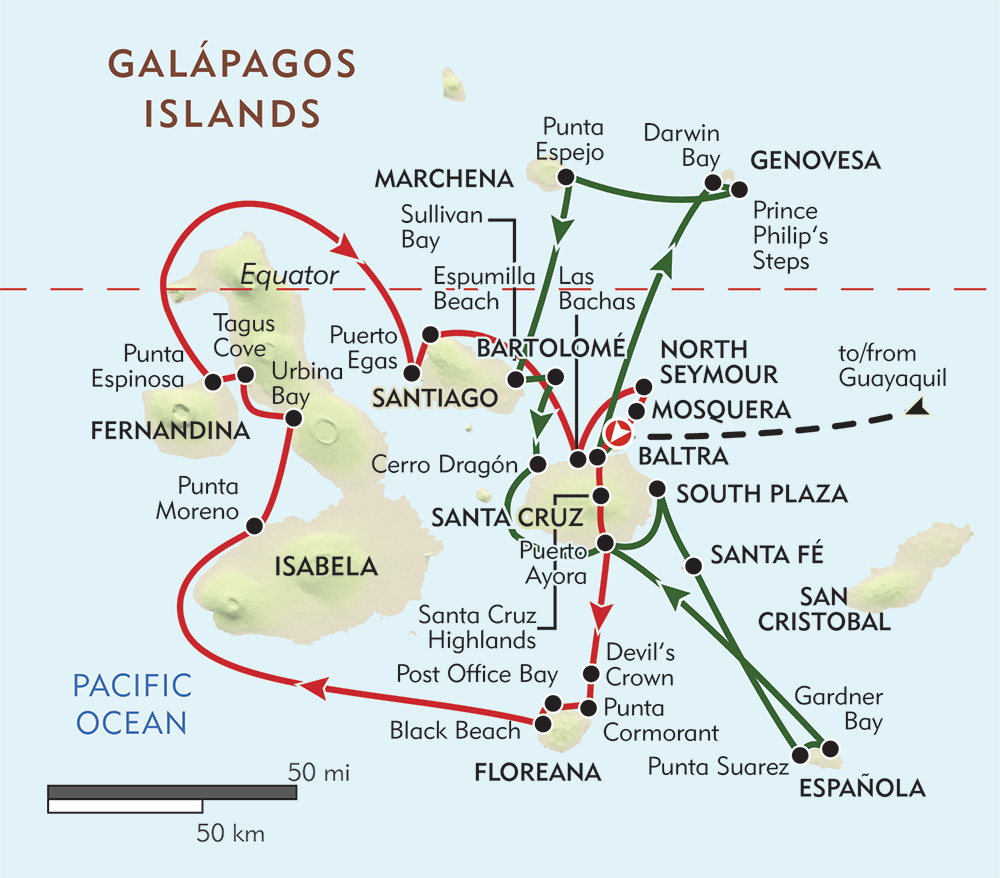 Galapagos Private Journey route-map