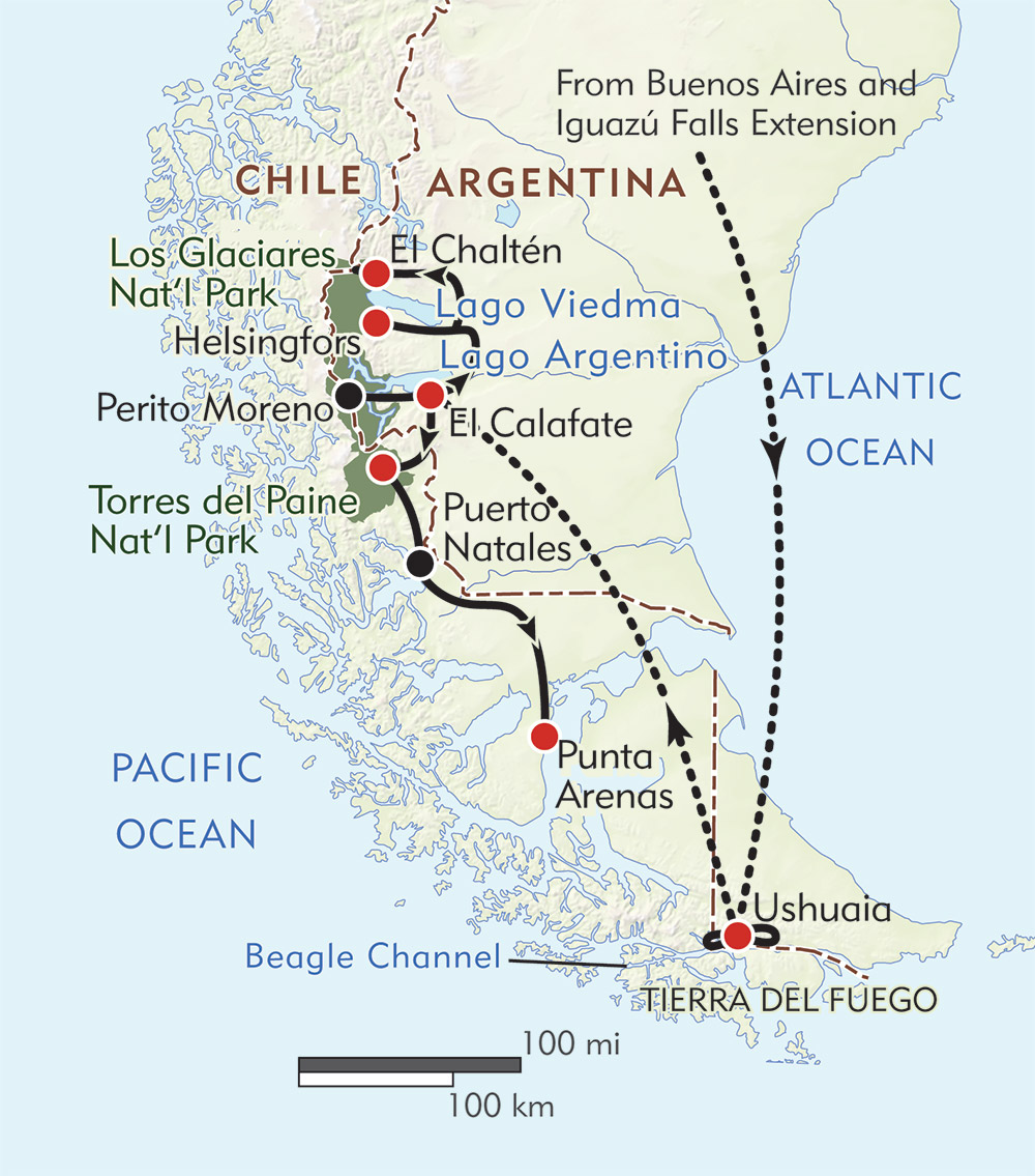 In Patagonia route-map