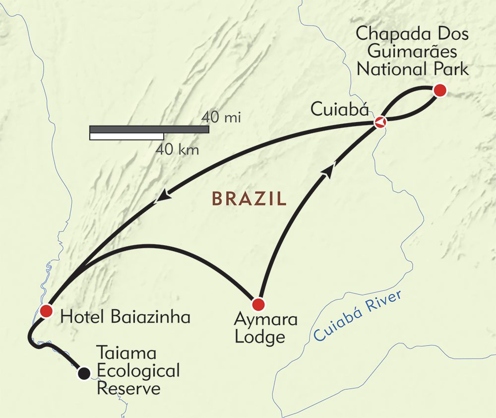Brazil: Jaguars and Wildlife of the Pantanal route-map