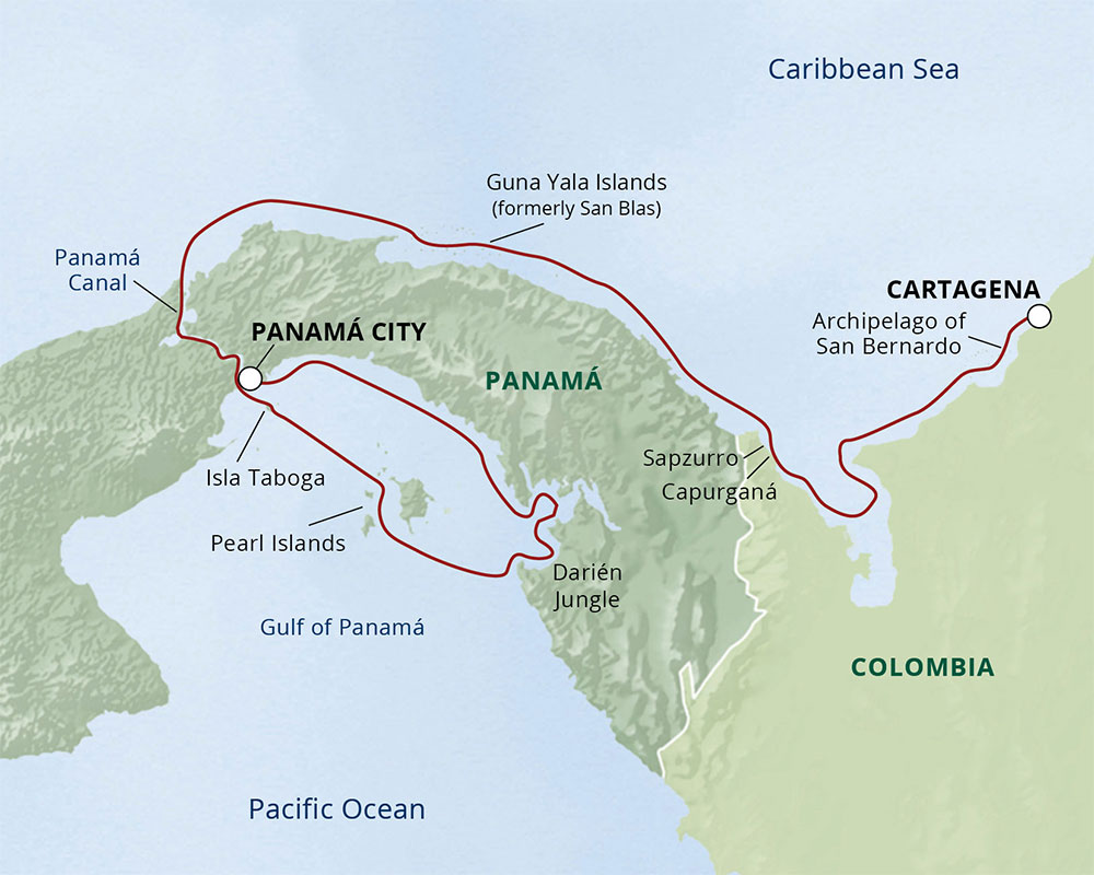 Coastlines of Panama and Colombia route-map