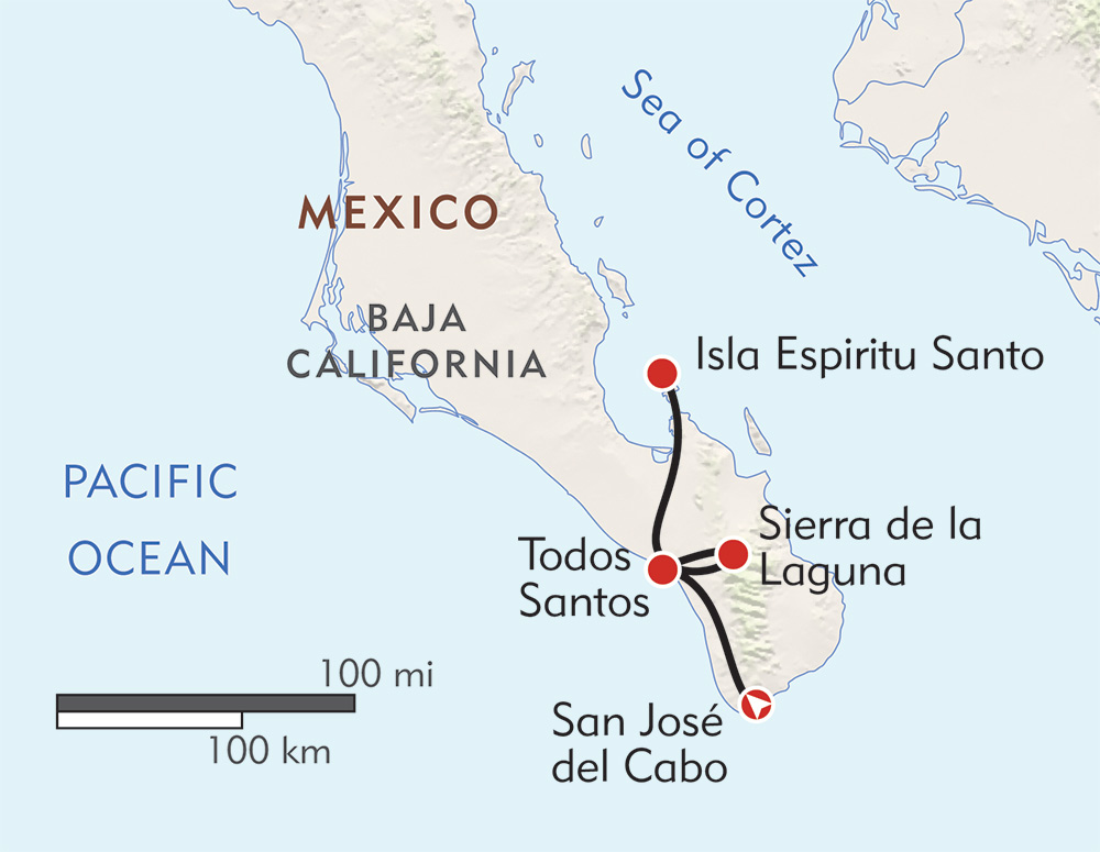 Baja Snorkeling and Sierras Private Journey route-map