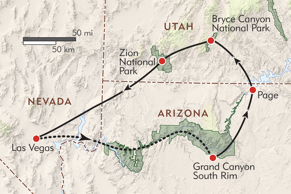 Southwest Explorer Private Journey route-map