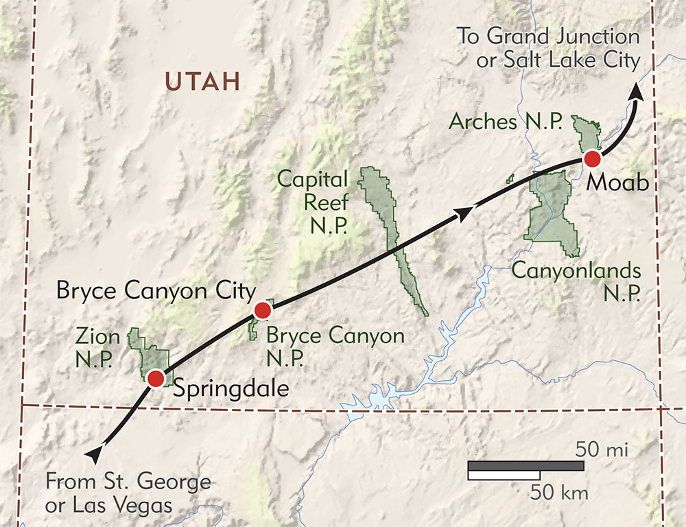Utah's Mighty Five Private Journey route-map