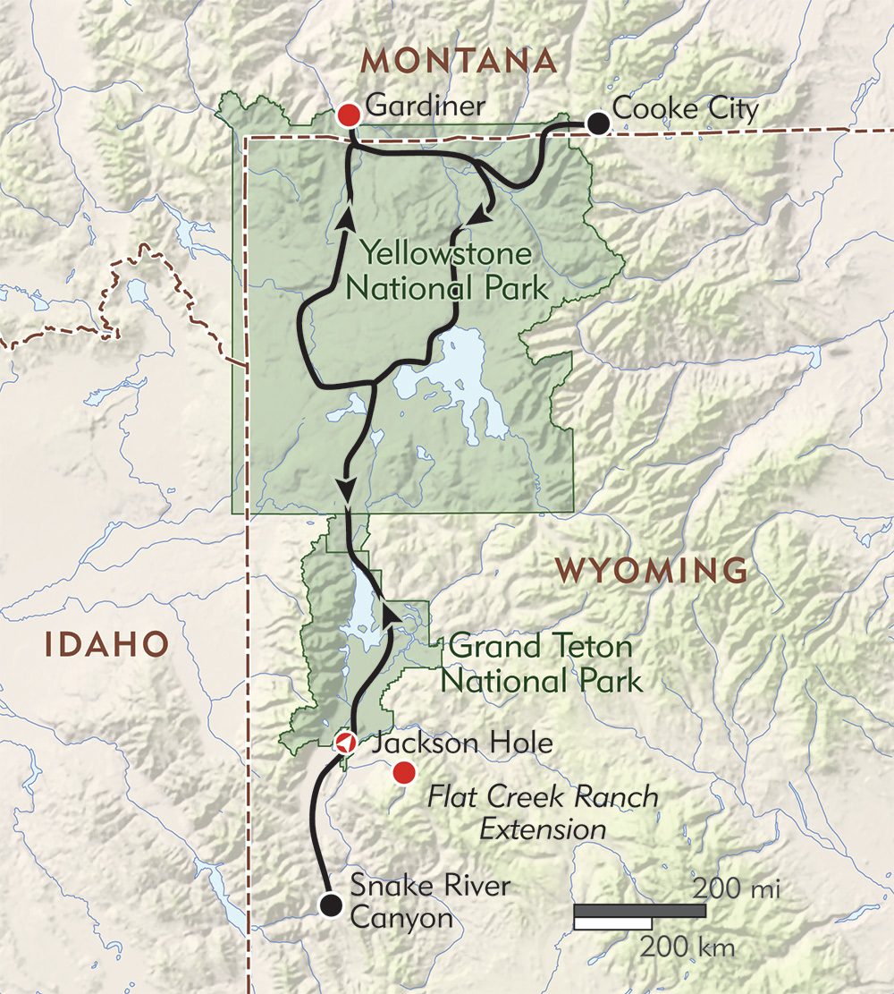 Yellowstone and Grand Teton Wildlife Adventure route-map