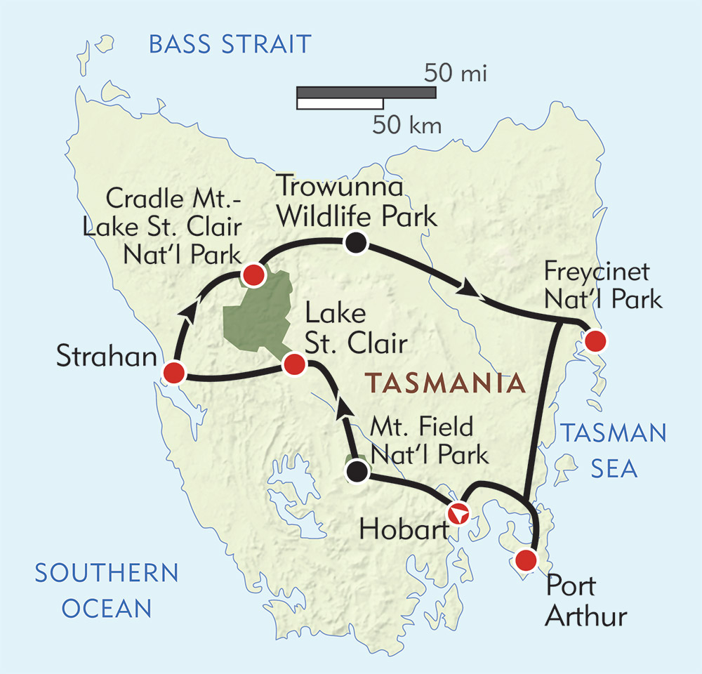 Wild Tasmania route-map