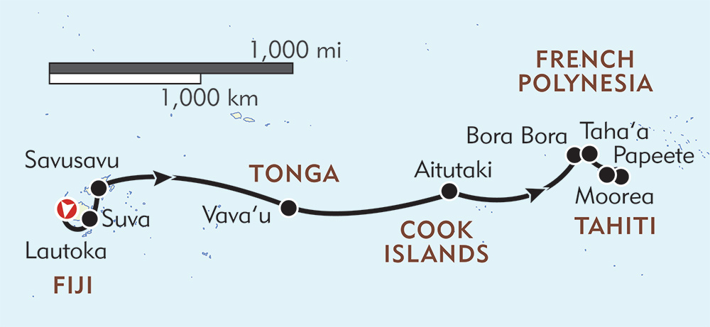 Fiji, Tonga, Cook, and Society Islands route-map