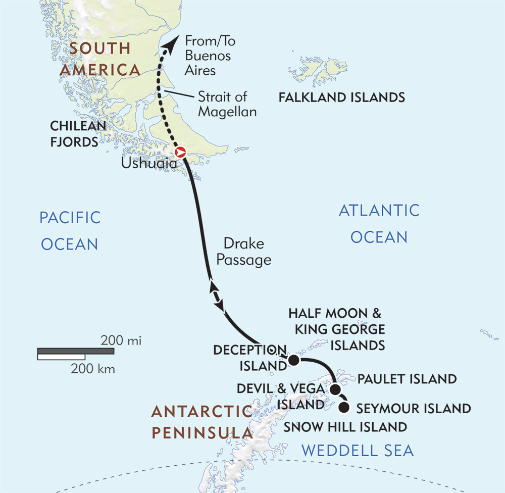 Weddell Sea: In Search of Emperor Penguins route-map