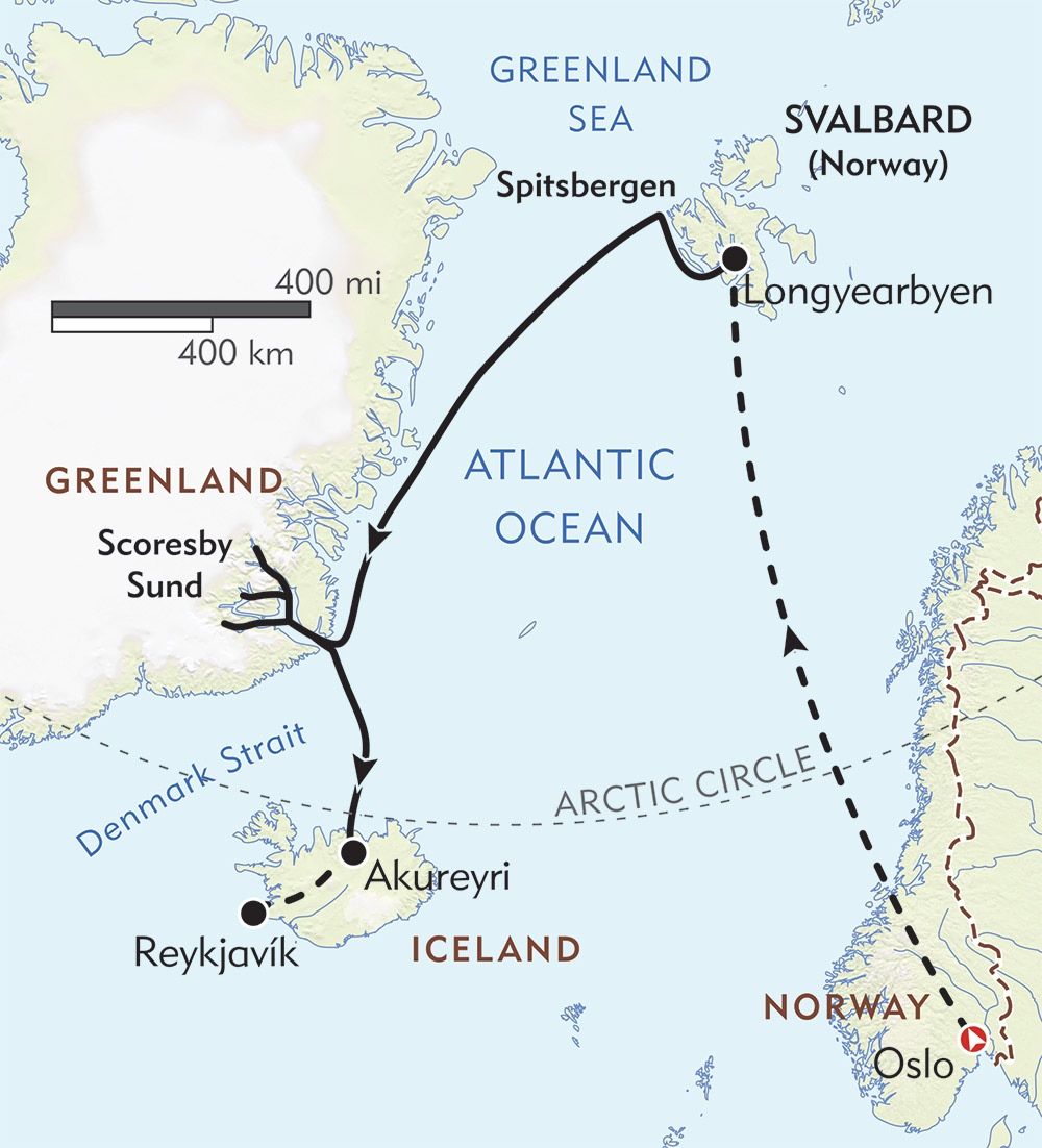 Three Arctic Islands route-map