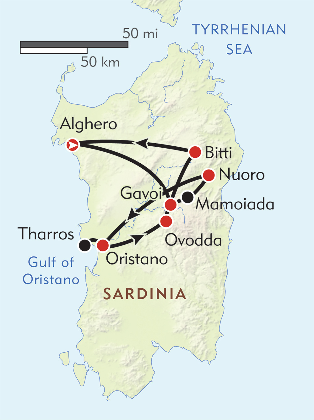 Pagan Festivals of Sardinia route-map