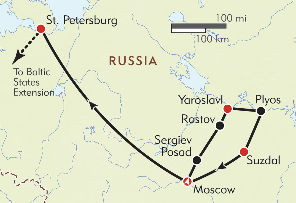 Russia: Land of the Czars route-map