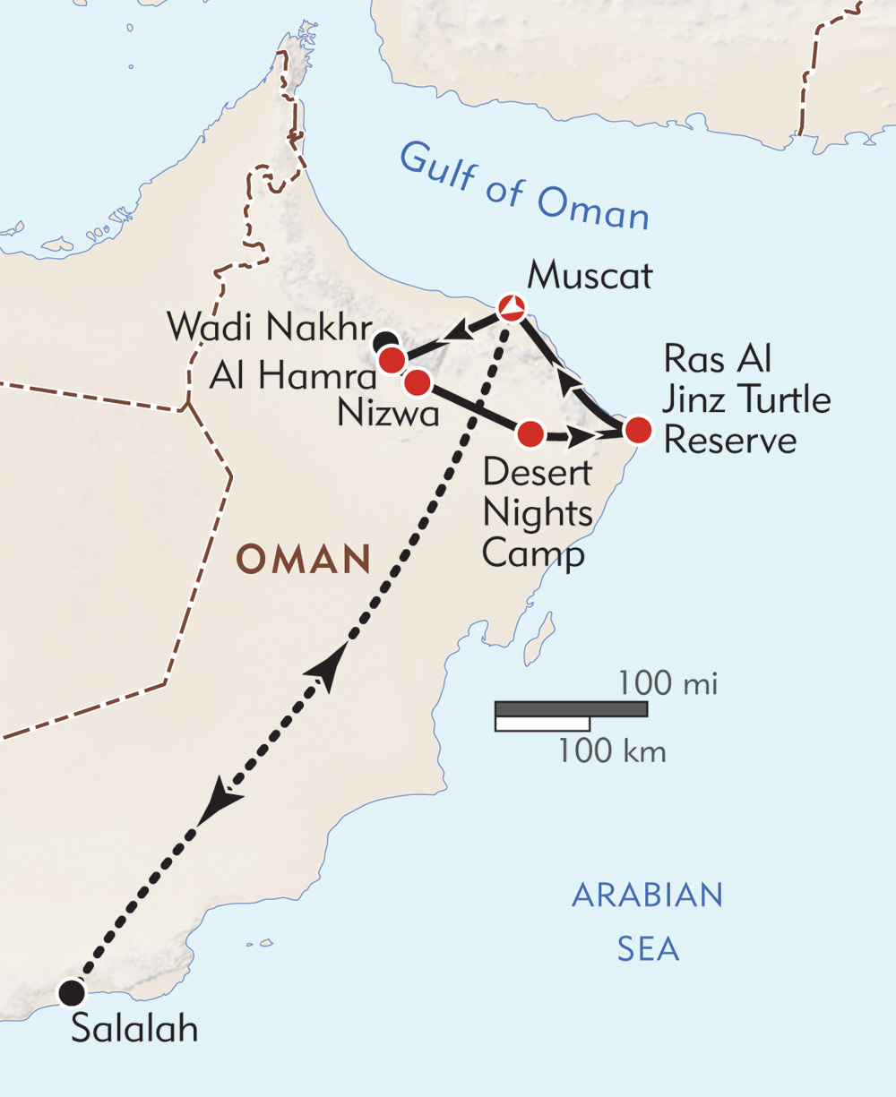 Desert Kingdom of Oman route-map
