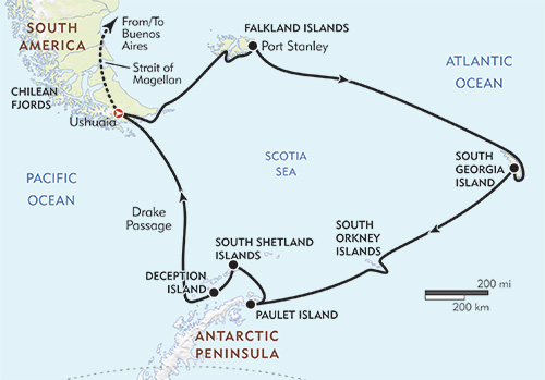 Antarctica, South Georgia, and the Falkland Islands: Sea Spirit route-map