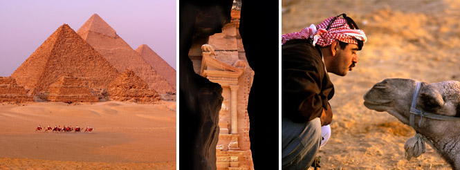 Great Pyramids; temple detail at Petra; Bedouin with camel