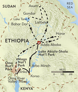 Lost Worlds of Ethiopia route-map