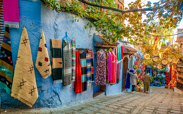 morocco chefchaouen blue buildings rug market