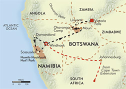 Namibia and Botswana Private Journey route-map