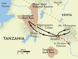 Kilimanjaro Climb and Serengeti Safari route-map