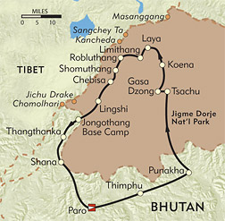 Bhutan: The Chomolhari and Laya Trek route-map
