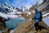 Hiker with backpack at K2 Advance Base Camp in China