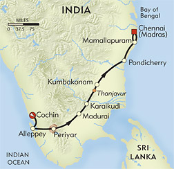 Treasures of South India route-map