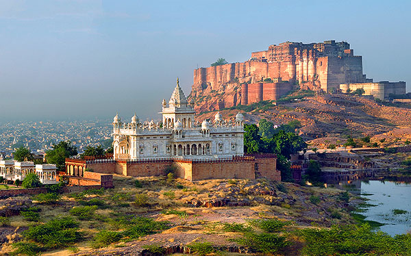 india mehrangarh fort with jaswant thada white temple jodhpur