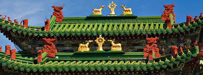 Green tile roof of a Buddhist monastery in Mongolia