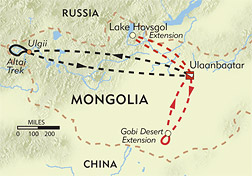 Mongolia's Realm of the Five Kings route-map
