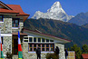 everest trek lodge twith ama dablam as backdrop