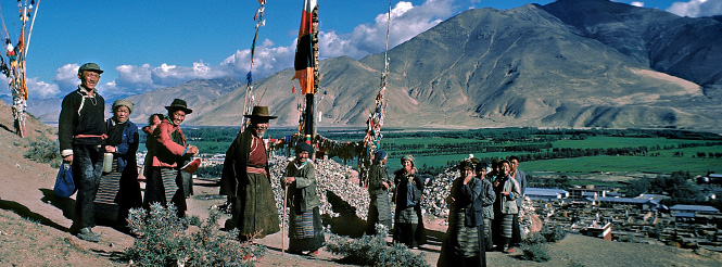 Group of Tibetan pilgrims in the Lhasa Valley of Tibet