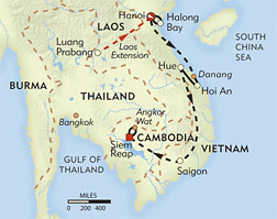 Vietnam and Cambodia Private Journey route-map