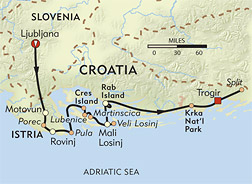 Croatia: Istria and the Dalmatian Coast route-map