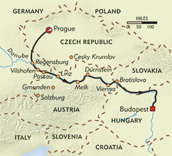 Czech Castles and Country Walks route-map