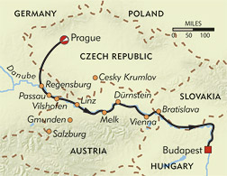 The Romantic Danube route-map